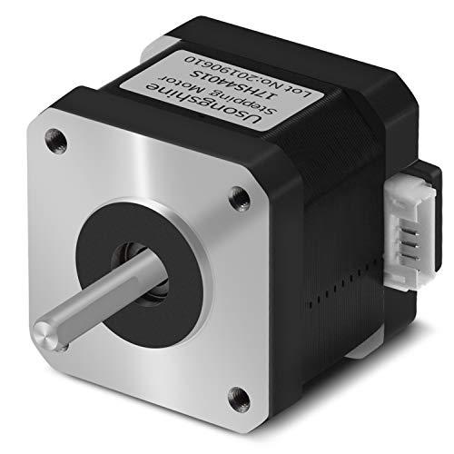 Usongshine Schrittmotor Nema 17 1.5A 17HS4401S 1.8°4 führen für 3D-Drucker CNC XYZ mit 1M Draht mit isolierten Hülsen (0.42 Nm, Schwarz, 1Pcs)
