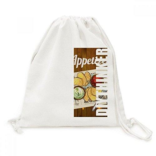 DIYthinker Appetizer Scheibe Brot Wein Canvas-Rucksack-Reisen Shopping Bags