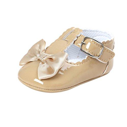 (FNKDOR Baby Mädchen Bowknot Prinzessin Weiche Sohle Schuhe Kleinkind Turnschuhe Freizeitschuhe(06-12 Monate,Khaki))