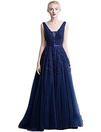 Babyonlinedress Vestido largo de fiesta de boda vestido de noche cuello V espalda V de cierre aplicaciones de encaje estilo A line elegante para mujer