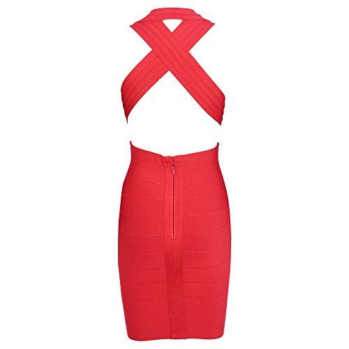 HLBandage Deep V Neck Halter Crossed Mini Bandage Dress Rosso