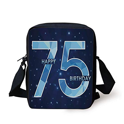 d1d8bd5f5 WITHY 75th Birthday Decorations,Geometric Abstract Design in Blue Colors  with Stars,Dark Blue