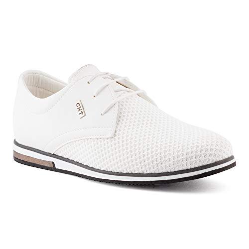 Fusskleidung Herren Business Schnürer Casual Halb Sneaker Schuhe Anzugschuhe Weiß EU 41