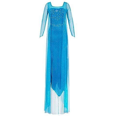 Katara 1768 Damen Kostüm Prinzessin Elsa Kleid Erwachsene - Disney 'Frozen Die Eiskönigin' - Dehnbares Partykleid aus Glitzerstoff, Rücken-Ausschnitt - Verkleidung für Karneval, Fasching, blau,