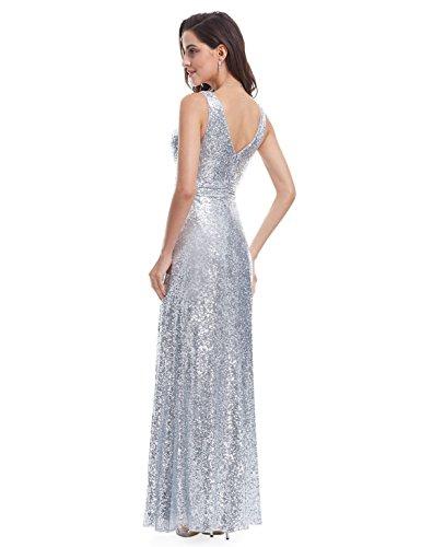 Ever Pretty Lang Pailletten Elegant Partykleid Cocktailkleid Abendkleid 36 Silber - 3