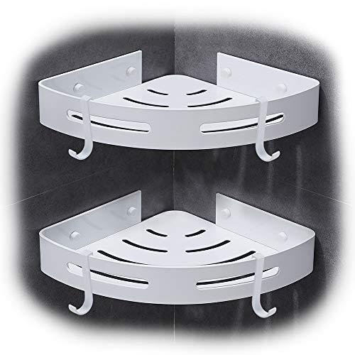 Hoomtaook porta sampoo per doccia mensola da doccia da angolo m, alluminio spaziale mensola per doccia nessuna foratura autoadesivo montato a muro 2 pezzi bianco
