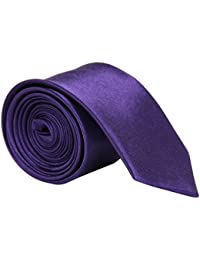 High Quality Plain Skinny Slim Satin Tie Dark Purple