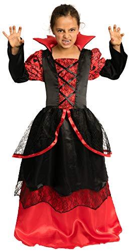 Magicoo Vampiressa - Vampir Kostüm Kinder Mädchen rot-schwarz - Halloween Vampirkostüm Kind Gr. 110 bis 140 (110/116)