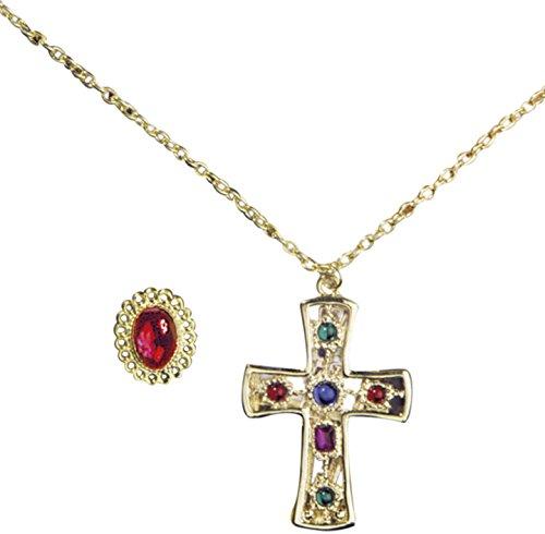 Widmann 5030E-Set Verkleidung RE/Regina Kette mit Kreuz und Ring, in - Priester Für Erwachsenen Kostüm