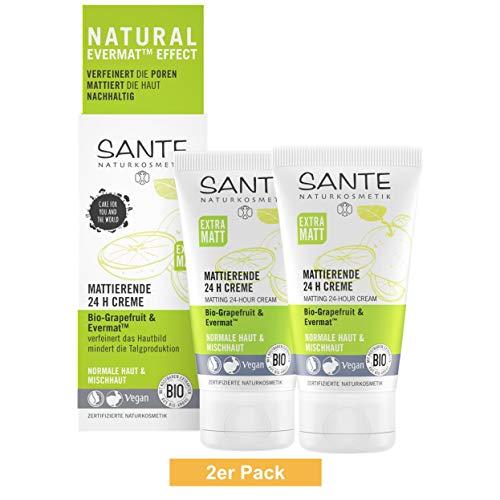 SANTE Naturkosmetik Mattierende 24H Creme, Gesichtscreme für Mischhaut, Verfeinert die Poren,...