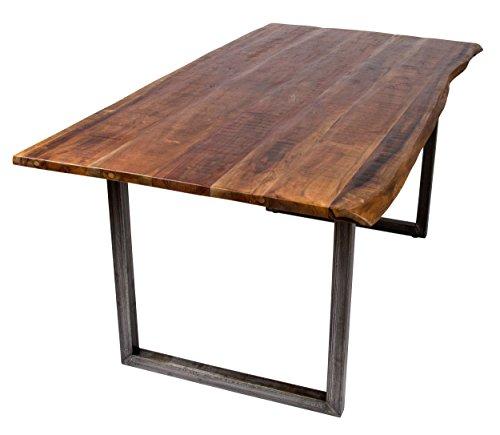 Wolf Möbel® Baumkantentisch Live edge -  Nussbaum-farben, Akazie - Esszimmertisch mit einer Baumkanten-Tischplatte