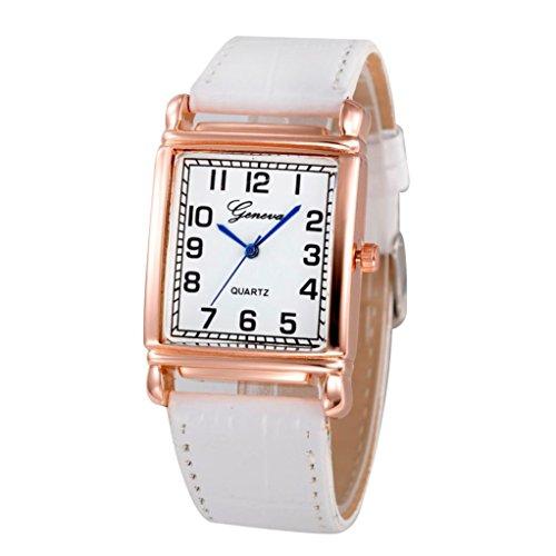 - 41jAchJeikL - Bluestercool Women Casual Checkers Faux Leather Quartz Analog Wrist Watch (White)