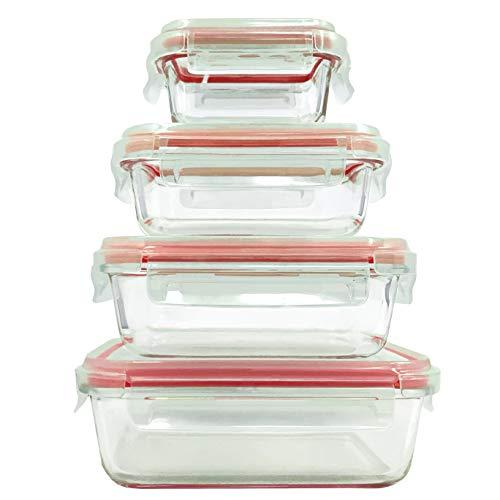 Home fleek - contenitori per alimenti in vetro | 4 contenitori + 4 coperchi | ermetico | senza bpa (set 4, rosso rettangolare)