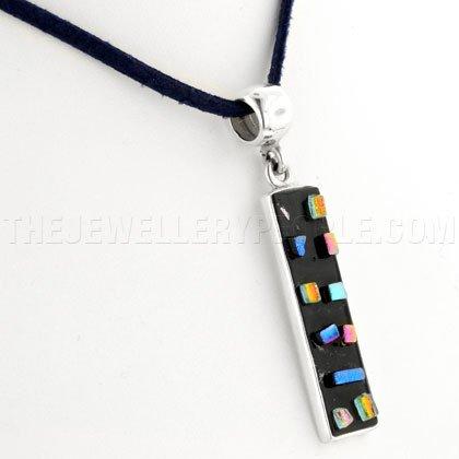Confetti Dichroic Glass & Silver Pendant