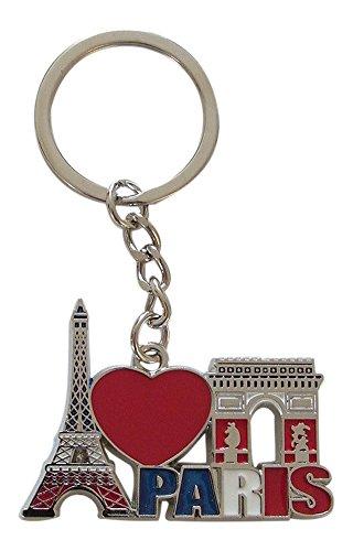 Porte-clés, bijou de sac Tour Eiffel et Arc de triomphe, France, Paris en métal. B2.