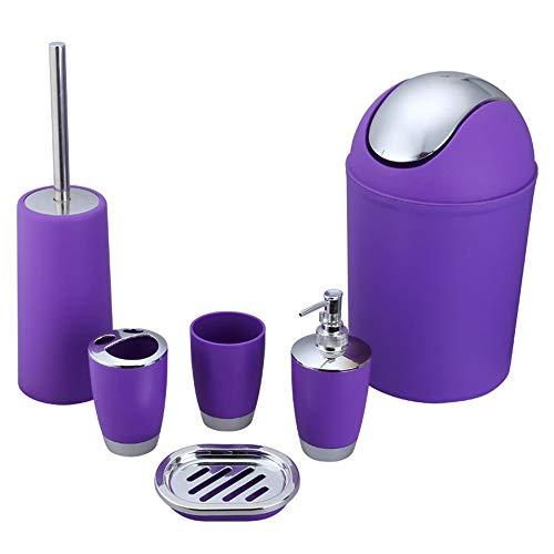 NLIFEB Badezimmer - Set Toilette zubehör setzt die klobürste, mülleimer, soap Dish, zahnbürste oder seifenspender, spül - Cup in neun Farben (6 stück),lila Bad Dish