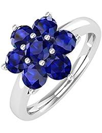 14K Gold Star Form Blau Saphir Verlobungsring Band Ring (1,00Karat)