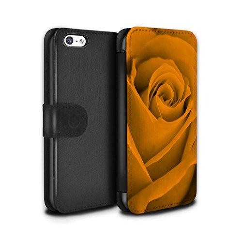 Stuff4 Coque/Etui/Housse Cuir PU Case/Cover pour Apple iPhone 8 / Vert Design / Rose Collection Orange