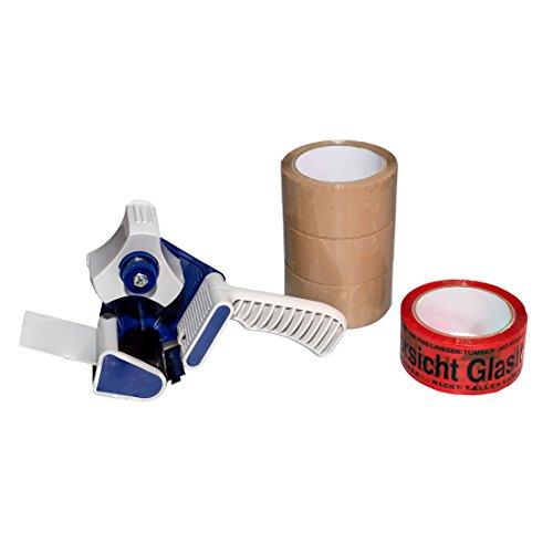 (0,02EUR/m) 4 Rollen Klebeband 66m 50mm Packband Paketband 1 Abroller Set 2