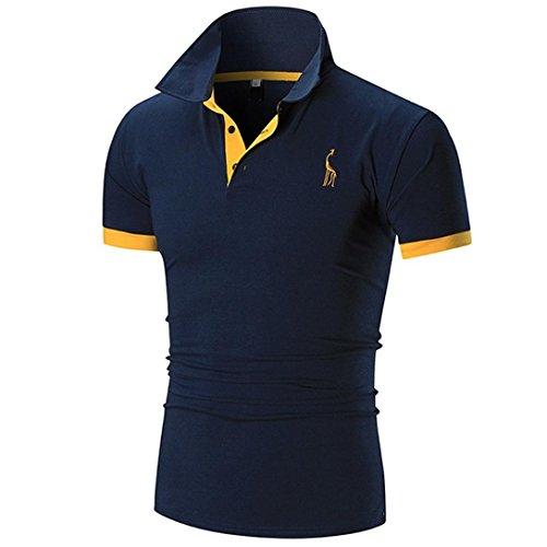 Herren Shirts,Frashing Herren Casual Slim Kurzarm Fawn T-Shirt Top Business-Bluse Fawn Bestickte Manschetten Polo Shirt (M, - Polo-shirts Frauen