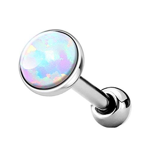 Kultpiercing, piercing helix pietra colorata, piercing al trago o cartilagine, piercing a barra dritta, 5mm oro rosa, colore: bianco, cod. 3000863-2017