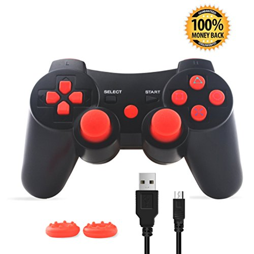 PS3 Controller, Wireless Bluetooth Gamepad Double Vibration Six-Axis Remote Joystick for Playstation 3 with Charging Cord (Red)