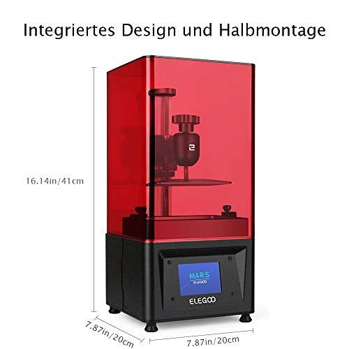 ELEGOO MARS UV LCD 3D Drucker mit 3,5 Zoll Smart Farbtouchscreen Offline-Drucken Druckbereich von 4.72″(L) x 2.68″(W) x 6.1″(H) (Schwarz) - 2