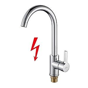 Auralum® Niederdruck Wasserhahn Einhebel Spültischarmatur Küche Armatur für Kaltwasser und einen Wasserboiler