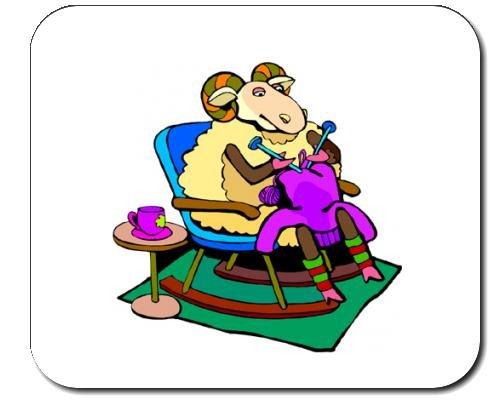 Mauspad mit der Grafik: Stricken, Stuhl, Schafe, Schaukelstuhl (Stuhl-pads Schaukelstühle)