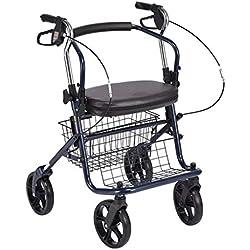 FFLSDR Le vieux chariot peut s'asseoir dans le vieux caddie pour acheter de la nourriture et de la lumière pliant l'aide à la marche, des béquilles en fauteuil roulant, un scooter à quatre roues 58x85