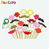Questquo 26Pcs/Lot DIY Polymer Clay Moustache Lips Photo Booth Props Photocall Party Decoration