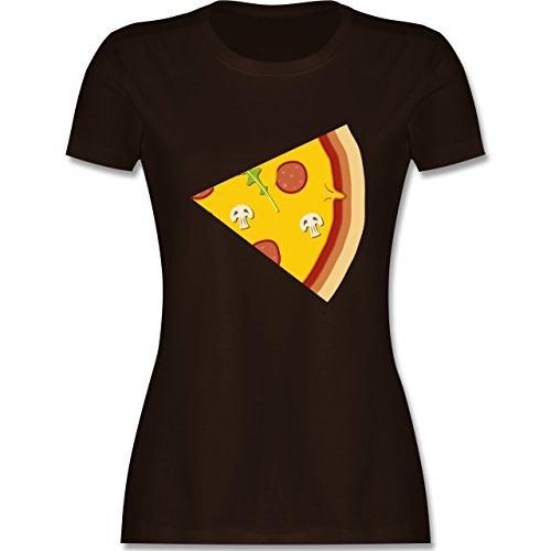Shirtracer Partner-Look Pärchen Damen - Pizza Pärchenmotiv Teil 2 - Damen T-Shirt Rundhals Braun