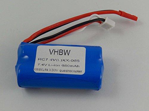 vhbw Li-Ion Akku 650mAh (7.4V) für Drohne, Multicopter, Quadrocopter Revell Control 23978 Sky Spider wie 43965. 7.4 V Pack