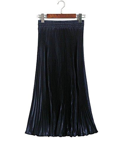 BiilyLi Gonna donna alta vita elegante Midi Maxi Gonne lunghe Moda gonna a pieghe fluorescenti Gonna di cocktail Blu scuro