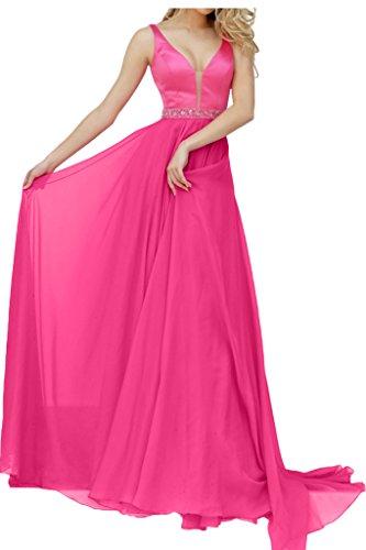 La_mia Braut Elegant Chiffon Traeger Abendkleider Partykleider Promkleider V-ausschnitt A-linie Rock Lang Pink