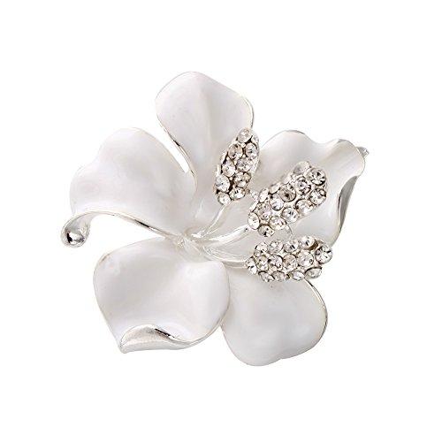SENFAI vendita calda spilla per donna Fashion Dress Fiori smaltato con cristalli strass Spilla fiore di giglio, lega di zinco, colore: White, cod. SF-BR151191-L