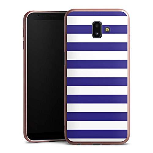 DeinDesign Silikon Hülle Rosé Gold kompatibel mit Samsung Galaxy J6 Plus Duos (2018) Case Schutzhülle Marine Weiss Blau Streifen