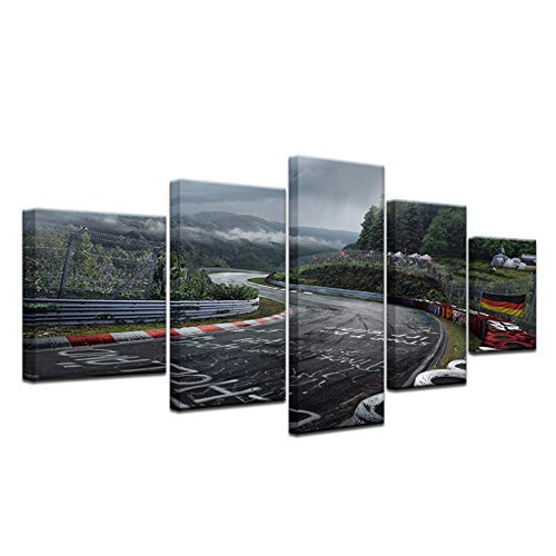 Lienzo Impreso Cuadros Pintura 5 Panel Nurburgring