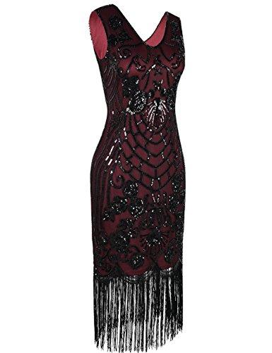 PrettyGuide Damen Charleston Kleid Vintage Pailletten 1920er Gatsby Cocktailkleid Burgund