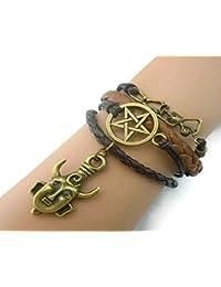 Supernatural Deans Protection Amulet Leather Charm Necklace & Bracelet Combo Set (Bracelet Only)