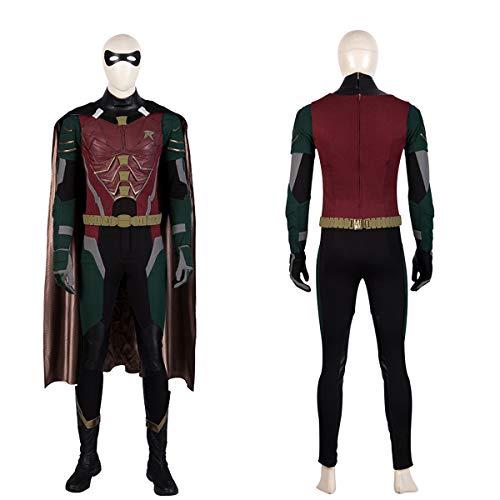 QWEASZER Batman Robin Erwachsenen Deluxe Kostüm PS4 Superheld Anime Zentai Kostüme Männer Film Cosplay Kostüm Overall Onesies,Robin-Custom Size (Deluxe Robin Für Erwachsenen Kostüm)