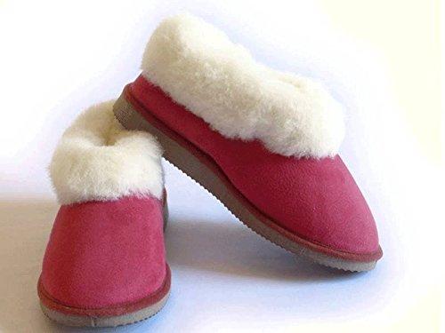 chaussons hommes ou garçons fourrés peau de mouton - tannage naturel Rouge