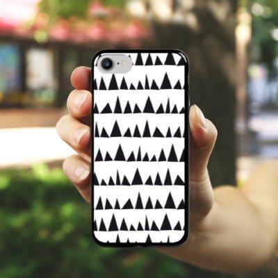 Apple iPhone X Silikon Hülle Case Schutzhülle Schwarz Weiß Muster Dreieck Hard Case schwarz