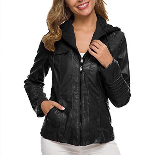 VITryst Womens Plus-Size Detachable Hood Fit Leather PU Jackets Coat Black XS (Coat Leather Black Trench Womens)