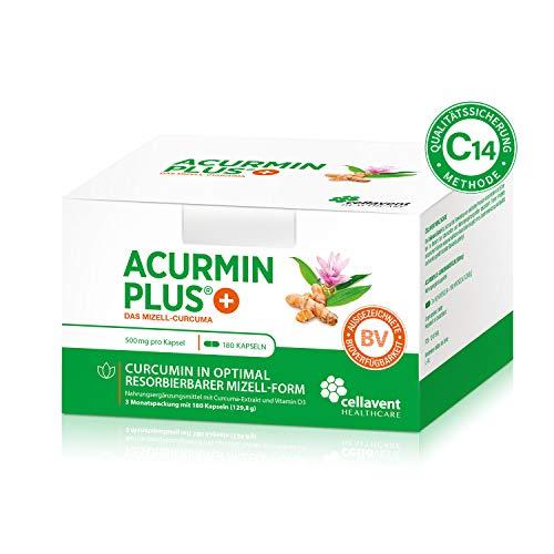 Kurkuma Kapseln hochdosiert von Acurmin PLUS: Das Mizell-Curcuma (Curcumin) - C14-Zertifiziert - mit Vitamin D3, OHNE Piperin/Bioperin/Pfeffer von Cellavent Healthcare - 180 Kapseln natürliches Kurkuma