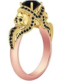 Silvernshine 1.52Ct Tanzanite CZ Diamond Engagement Two Skull Desing Ring 14K Rose & YellowGold PL