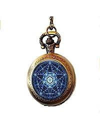 Collar de reloj de bolsillo Witchcraft, joyería, personalidad oculta de cristal, pentagrama de