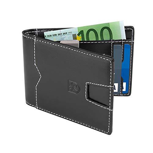Geldbörse Herren – Männer, Kleine Geldbörse mit Geldklammer und Münzfach – Slim – Ledergeldbörse – RFID Schutz – Geschenk – Klein – Kartenfächer(Schwarz)