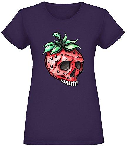 Erdbeer-Schädel - Strawberry Skull T-Shirt Top Short Sleeve Jersey for Women 100% Soft Cotton Womens Clothing Medium (Tee Schädel-womens)