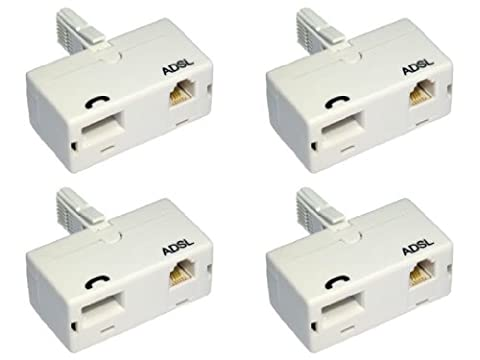 World of Data 4 x ADSL Microfilter (Quad Pack) - Premium Quality / BT Approved / Broadband & Phone Socket / Male to Female / Adapter /